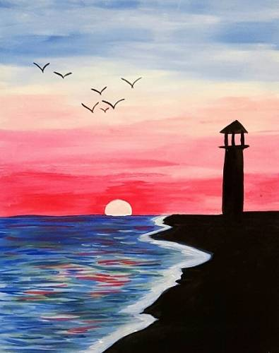A Lighthouse Shore II paint nite project by Yaymaker