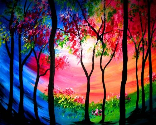 A Rainbow Forest II paint nite project by Yaymaker