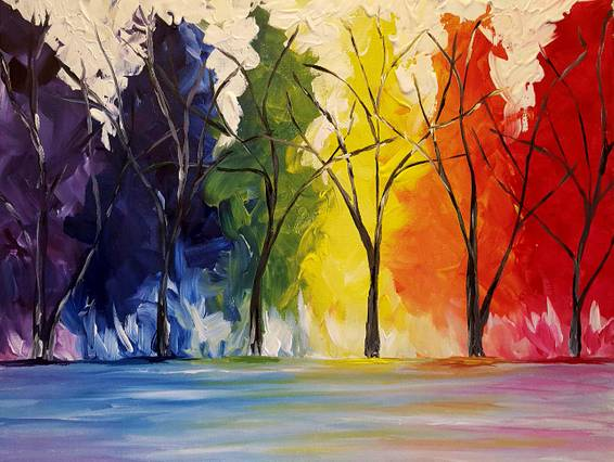 A Technicolor Trees paint nite project by Yaymaker