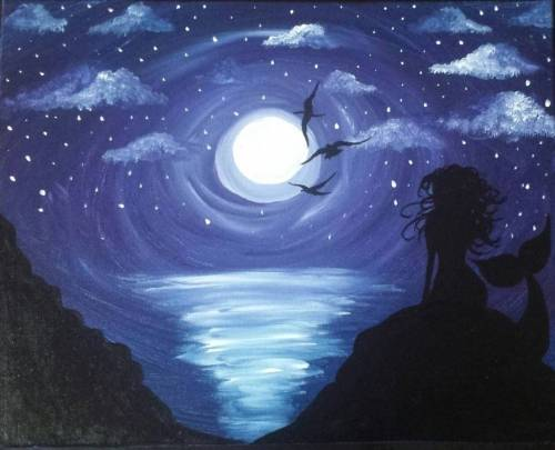 A Midnight Mermaid paint nite project by Yaymaker
