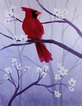 A Spring Cardinal paint nite project by Yaymaker