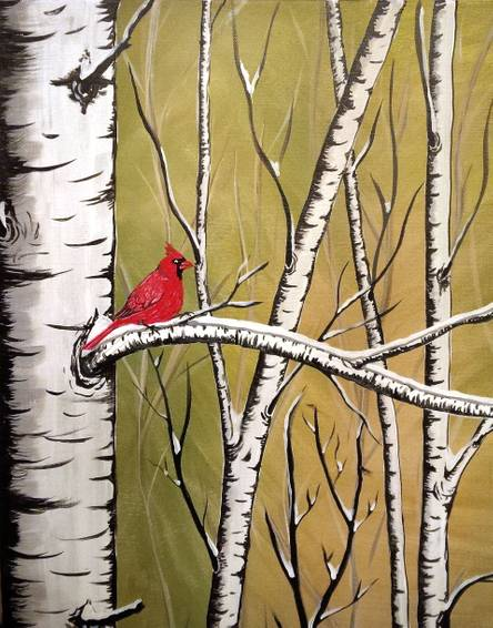 A Birch Tree Cardinal paint nite project by Yaymaker