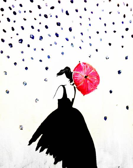 A Lady with the Red Umbrella paint nite project by Yaymaker