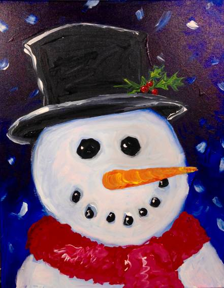 A Classic Snowman paint nite project by Yaymaker