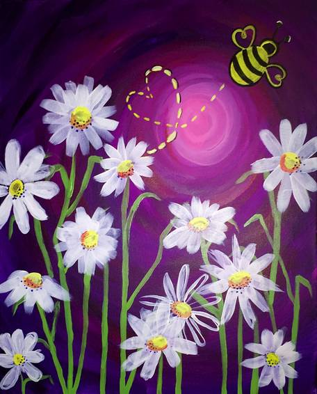 A The Daisies and the Love Bug paint nite project by Yaymaker