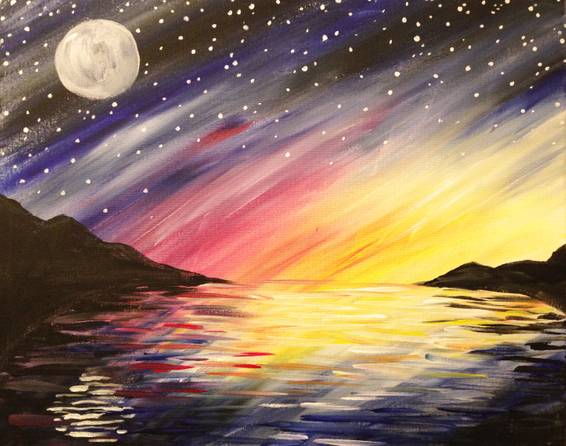A Nite Sky Reflection paint nite project by Yaymaker