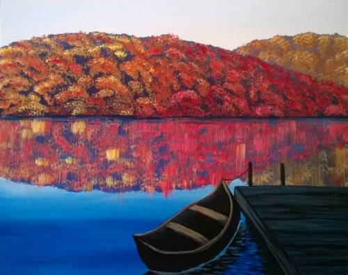 A Autumn Lake paint nite project by Yaymaker