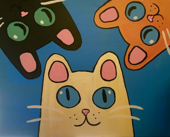 A Crazy Kitties paint nite project by Yaymaker