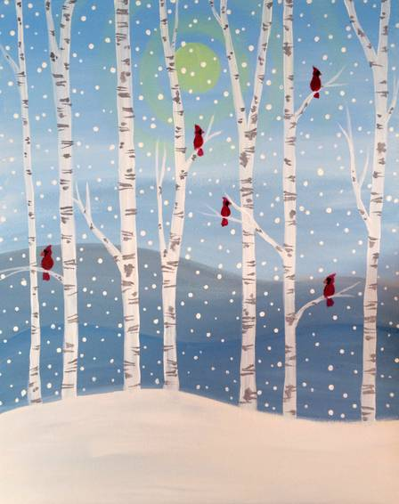 A Winter Birch Forest paint nite project by Yaymaker