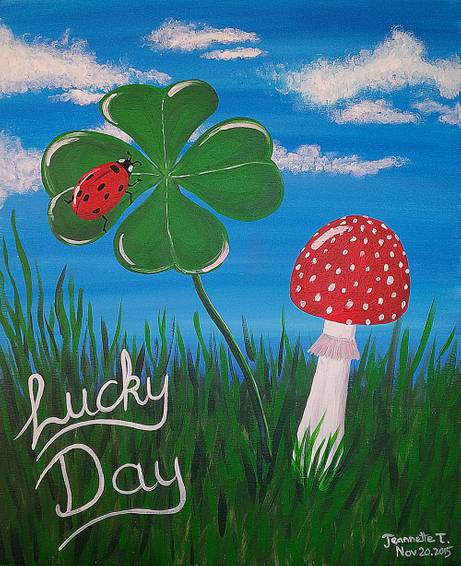 A Lucky Day Shamrock Ladybug and Mushroom paint nite project by Yaymaker