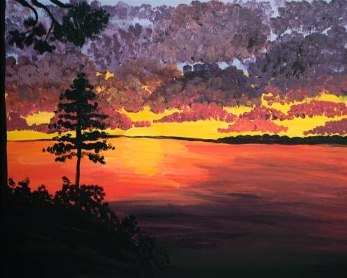 A Burning Sunset paint nite project by Yaymaker