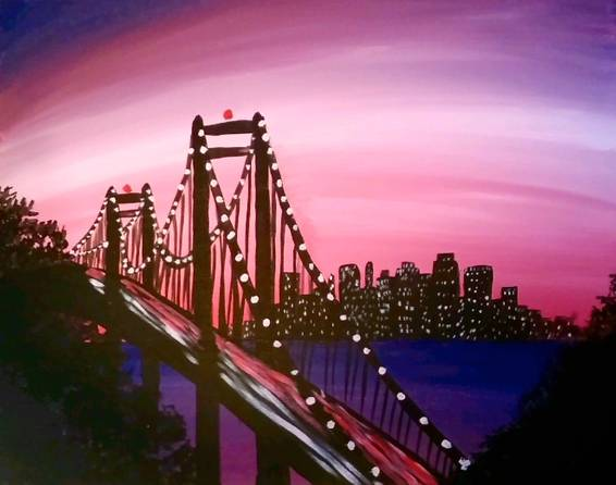 A Bay Bridge Lights paint nite project by Yaymaker