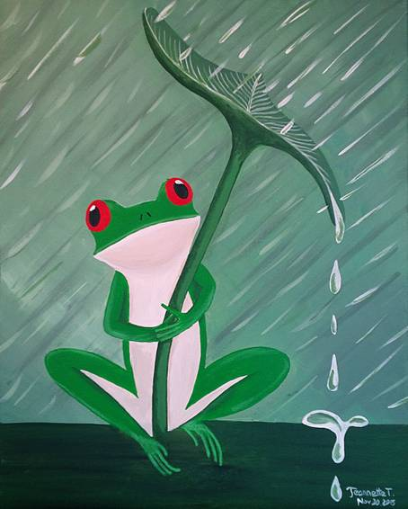 A Oh My Frog Its Raining paint nite project by Yaymaker