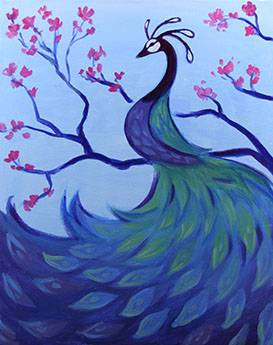 A Peacock and Blossoms paint nite project by Yaymaker