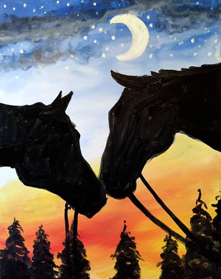A Night Nuzzling paint nite project by Yaymaker