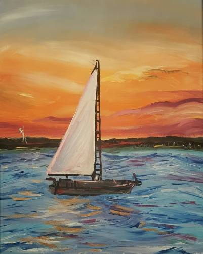 A Orange Sunset at Sea paint nite project by Yaymaker