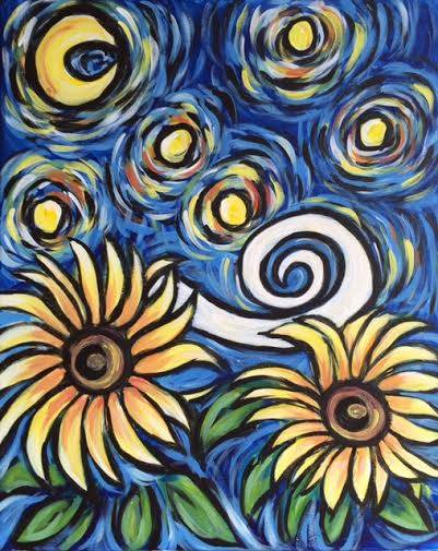 A Starry Night Sunflowers paint nite project by Yaymaker