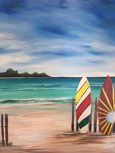 A Colorful Surfboards Design Your Boards paint nite project by Yaymaker