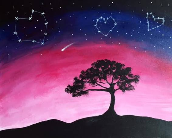 A Love Constellations paint nite project by Yaymaker