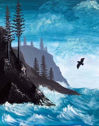 A Coastal Waves paint nite project by Yaymaker