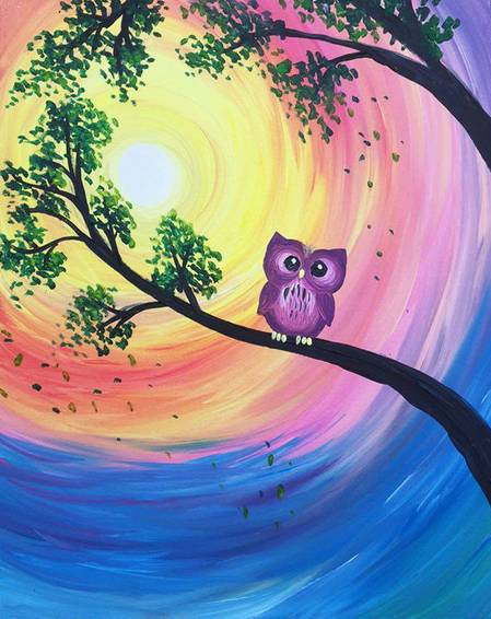 A Owl Day Long paint nite project by Yaymaker