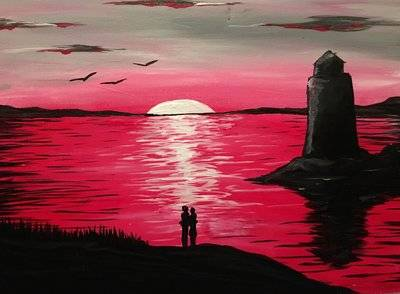 A Valentines Sunset paint nite project by Yaymaker
