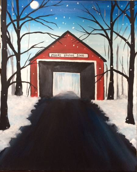 A Little Red Bridge paint nite project by Yaymaker