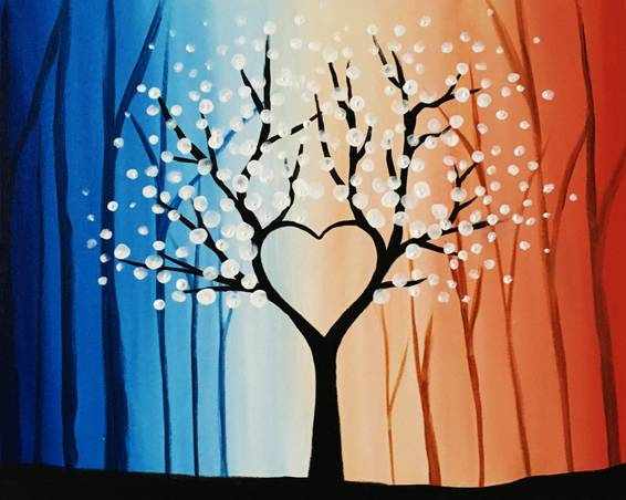 A Heart Tree in the Forest paint nite project by Yaymaker