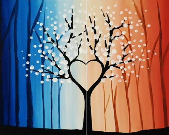 A Heart Tree in the Forest Partner paint nite project by Yaymaker