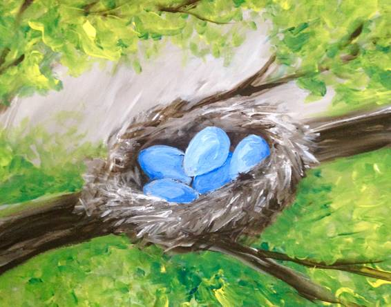 A Blue Eggs in a Nest paint nite project by Yaymaker