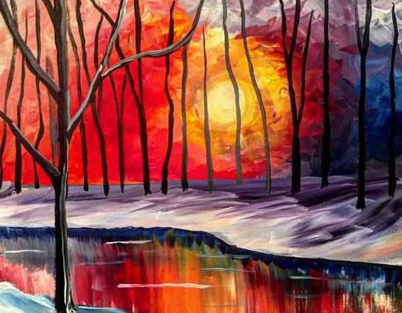 A Warm Sunset paint nite project by Yaymaker