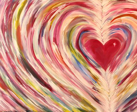 A Glowing Heart paint nite project by Yaymaker