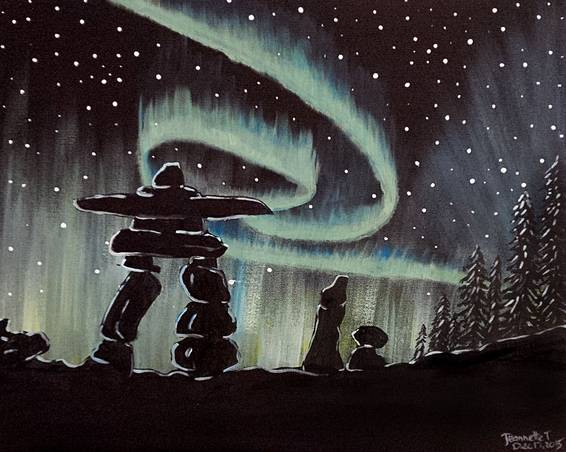 A Northern Inukshuk paint nite project by Yaymaker