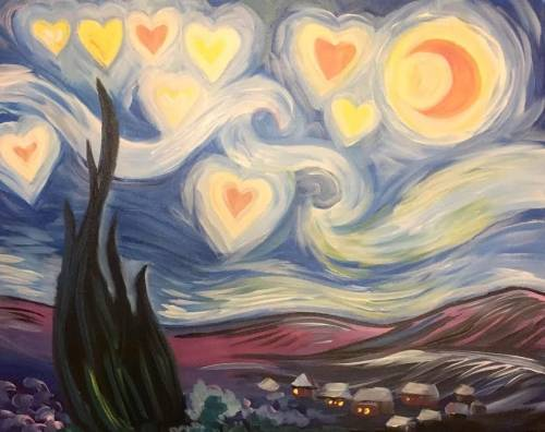 A Starry Starry Hearts paint nite project by Yaymaker