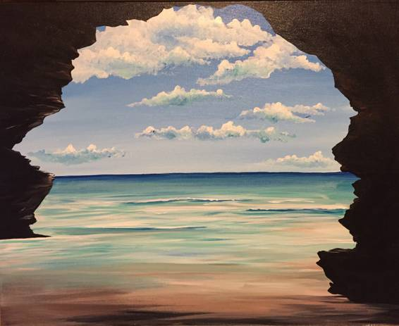 A Paradise Cave paint nite project by Yaymaker