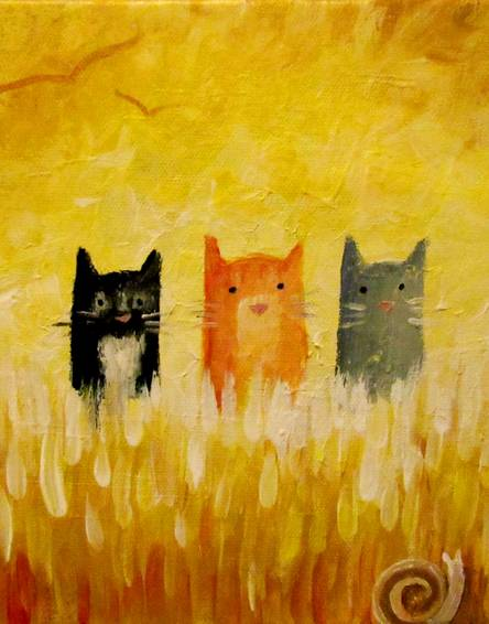 A Three Cats paint nite project by Yaymaker