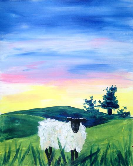 A Sheep in the Meadow paint nite project by Yaymaker