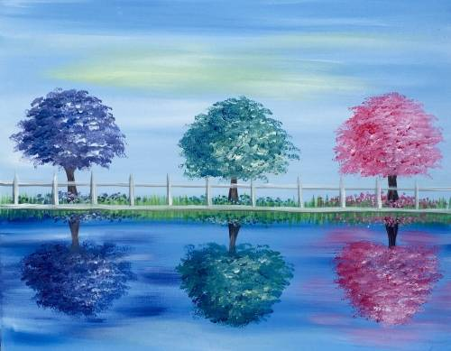 A Three Trees in Spring paint nite project by Yaymaker