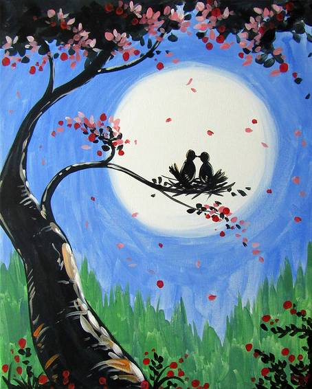 A First Moonlit Kiss paint nite project by Yaymaker