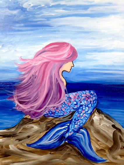 A If I Were a Mermaid paint nite project by Yaymaker