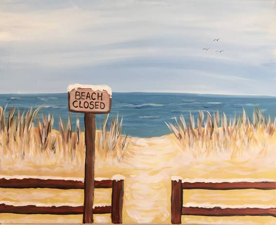 A Beach Closed paint nite project by Yaymaker