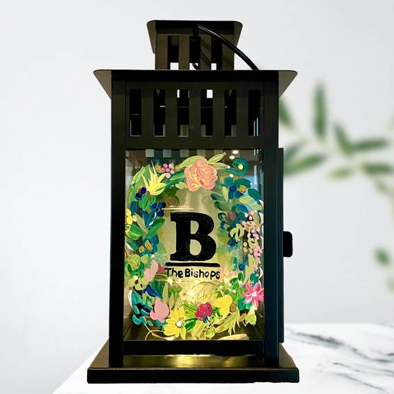 A Eucalyptus and Flowers Customizable Lantern with Fairy Lights experience project by Yaymaker