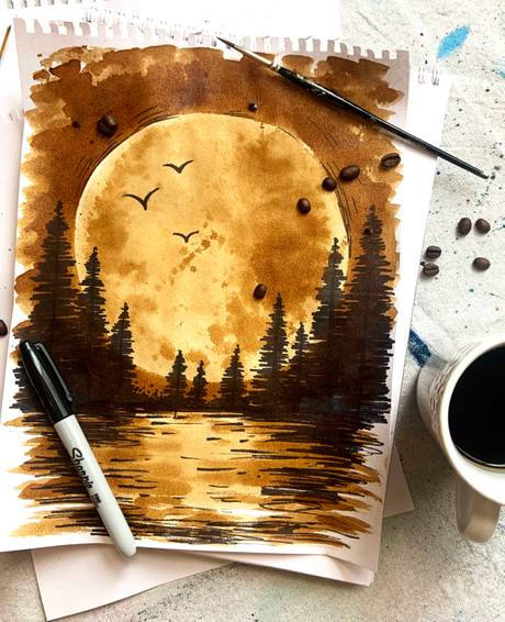 A Full moon painting using instant coffee and sharpie  Virtual Event experience project by Yaymaker