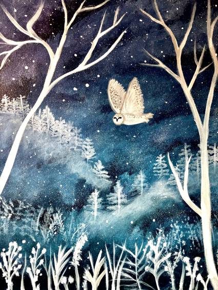 A Soaring owl in magical forest night experience project by Yaymaker