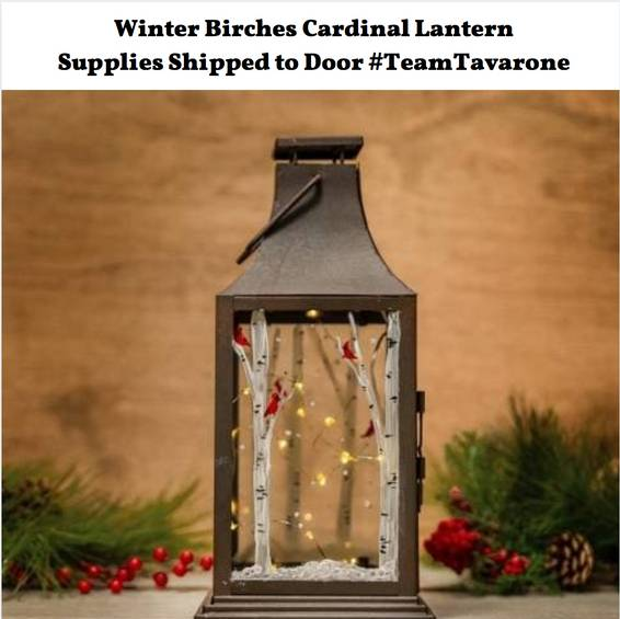 A Winter Birch Lantern with Supplies Shipped to Door TeamTavarone event experience project by Yaymaker