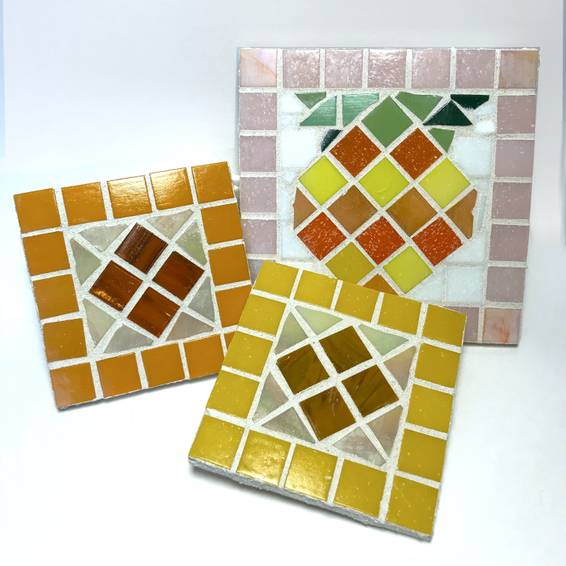 A Make a Mosaic Customize Two Coasters or One Potholder  Pineapple and Patterns Example experience project by Yaymaker