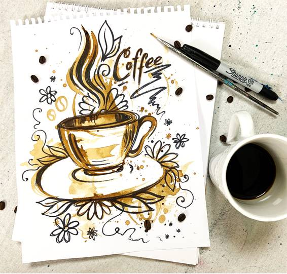 A Coffee and sharpie cute mug sketch  Virtual Event experience project by Yaymaker