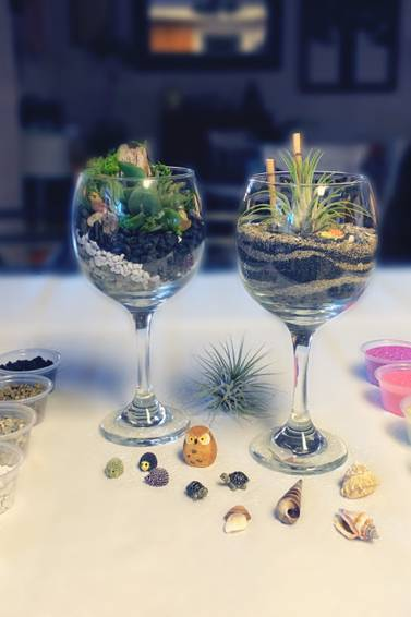 A Eloquent Pair Create 2 stunning wine glass terrariums experience project by Yaymaker
