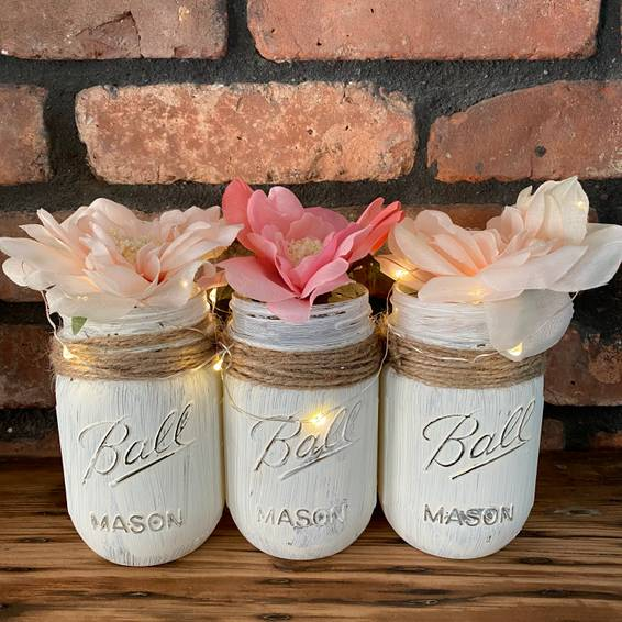 A Classic Rustic Mason Jar Trio  Fairy Lights experience project by Yaymaker