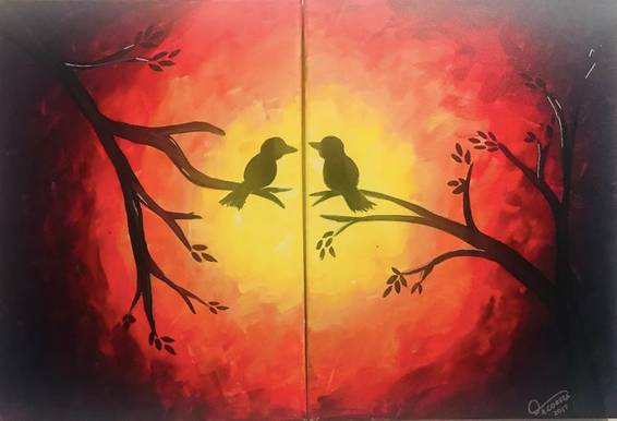 A Love Birds Couple Painting experience project by Yaymaker